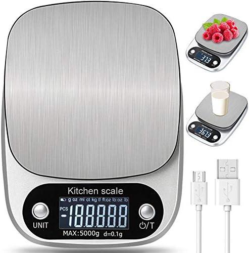 Bilancia da Cucina Digitale con Carica USB,5kg 11lb 0.1g Bilance Multifunzione Alimentari Elettronica con Retroilluminato e Timer Allarme,Peso Cucina