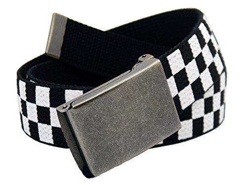 (Boys School Uniform Distressed Silver Flip Top Military Belt Buckle with Canvas Web Belt Large Checkered)
