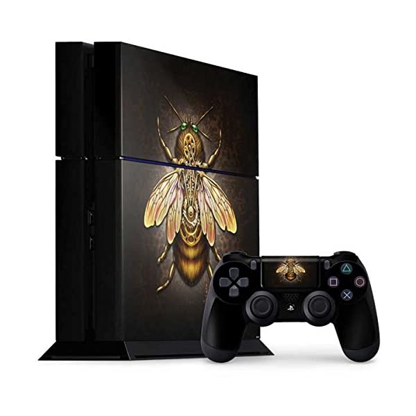 Skinit Decal Gaming Skin Compatible with PS4 Console and Controller Bundle - Officially Licensed Tate and Co. Steampunk Bee Design 3