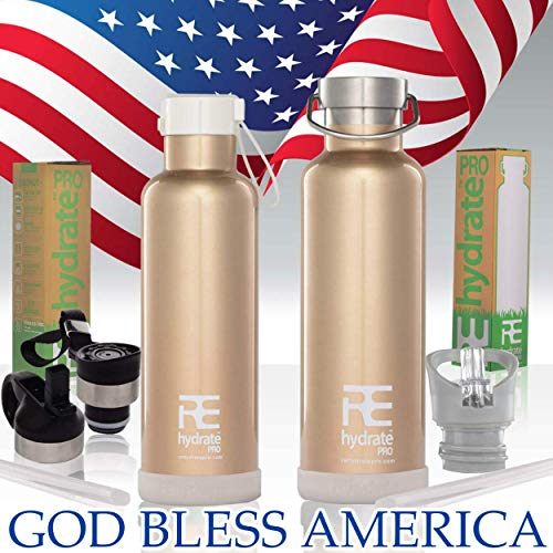 (Rehydrate Pro (Gold 17 oz Kids Insulated Water Double Wall Bottle Stainless Steel Metal Flask Bonus Lids and Straws. Simple Modern Thermal Leak Proof Flask That Keeps Drinks Cold and Hot)