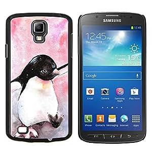 Samsung Galaxy S4 Active i9295 - Impreso colorido protector duro espalda Funda piel de Shell (Ping¨¹ino lindo de la acuarela de los rosas beb¨¦s)