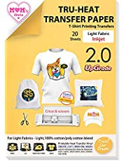 TransOurDream Upgraded Iron on Heat Transfer Paper for T Shirts (20 Sheets, A4) Iron-on Transfers Paper for Light Fabric Printable Heat Transfer Vinyl for Inkjet Printer (SG-2-20)