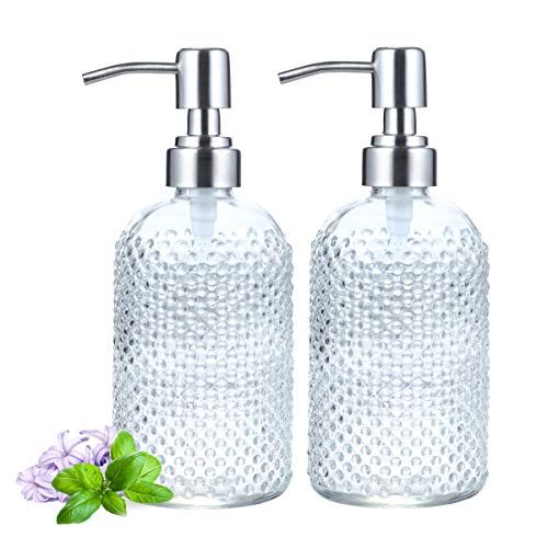 2 Pack Soap Dispenser 18 Ounce Tempered Glass Clear Hand Liquid Soap Bottle Refillable Lotion Dispensers with Rust Proof…