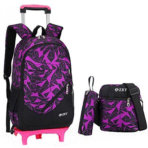ShopSquare64 28L 3 Pcs Kids Trolley Backpack Pencil Bag Shoulder Bag Travel Camping Trolley Case With Wheels