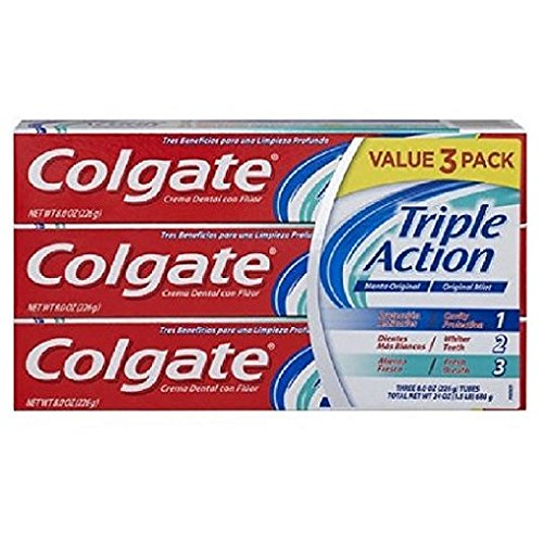 COLGATE FLUORIDE TOOTHPASTE TRIPLE FOR DEEP CLEAN ACTION CAVITY PROTECTION WHITER TEETH FRESH BREATH GLUTEN FREE 3 PACK 8OZ TUBES