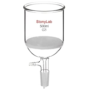 StonyLab Borosilicate Glass Buchner Filtering Funnel with Fine Frit (G3), 94mm Inner-Diameter, 100mm Depth, with 24/40 Standard Taper Inner Joint and Vacuum Serrated Tubulation (500 mL)