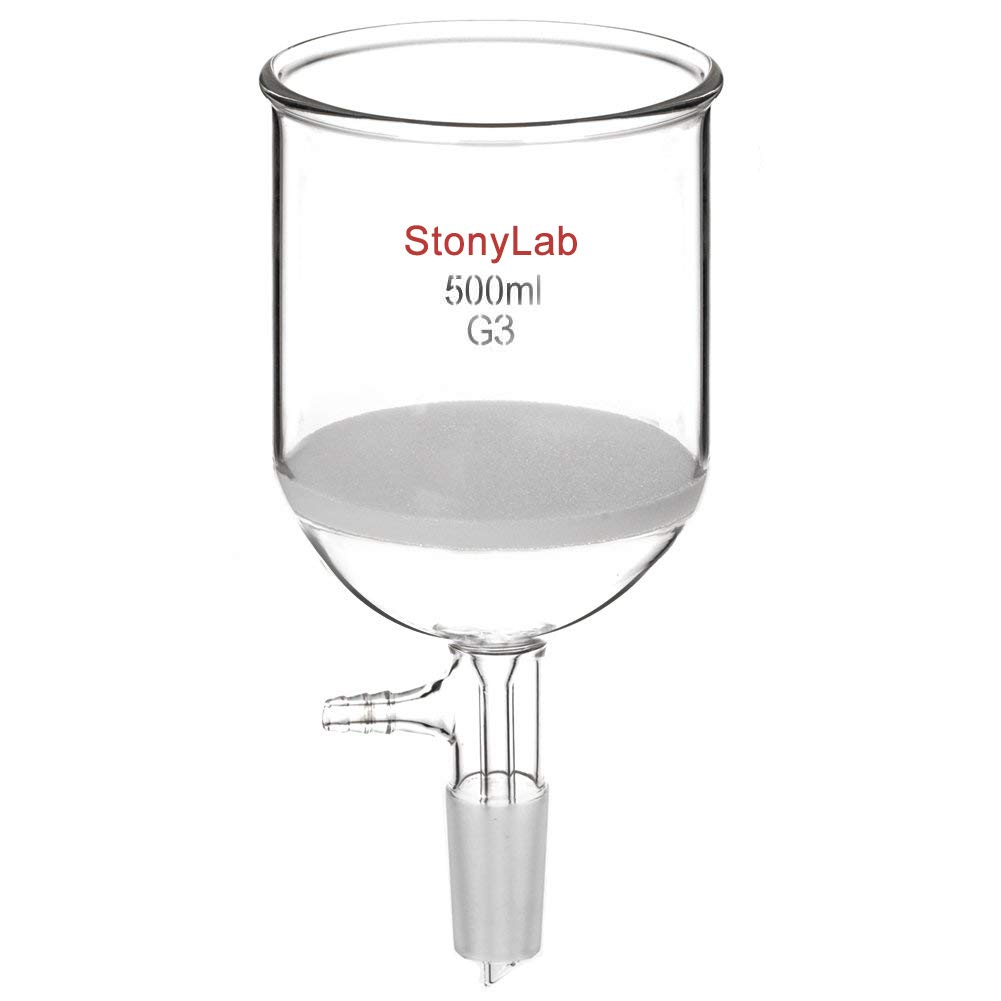StonyLab Borosilicate Glass Buchner Filtering Funnel with Fine Frit, 94mm Inner-Diameter, 100mm Depth, with 24/40 Standard Taper Inner Joint and Vacuum Serrated Tubulation (500 mL)