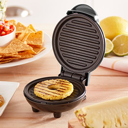 Dash DMG001SL Mini Maker Portable Grill Machine + Panini Press for Gourmet Burgers, Sandwiches, Chicken + Other On the Go Breakfast, Lunch, or Snacks with Recipe Guide - Silver