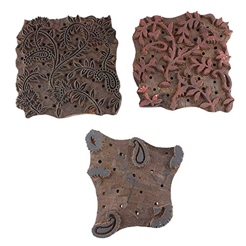IndianShelf Set of 3 Piece Brown Wooden Canvas Paper Textile Fabric HandCraft Printing Block Pattern for Saree Border by Indian Shelf