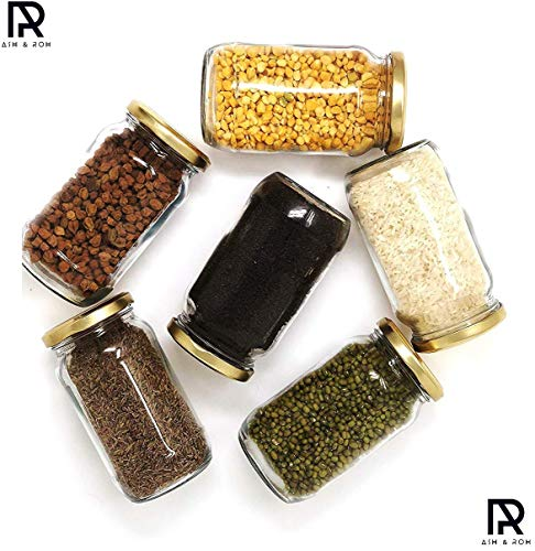 Ash & Roh® 400 ML Glass Jar Round Shape,with Golden Metal Color Cap for Masala Spices and Ghree Storage Rust Proof Air Tight, (Set of 6 Pcs) Price & Reviews