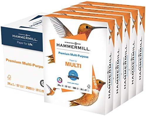 Hammermill Printer Paper, Premium Multipurpose Paper 24 lb, 8.5 x 11 - 5 Ream (2,500 Sheets) - 92 Bright, Made in america