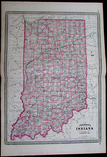 apolis counties towns 1870 Johnson scarce large antique map ()