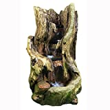Sunnydaze Rustic Outdoor Garden Waterfall Fountain with LED Lights, 32 Inch Tall