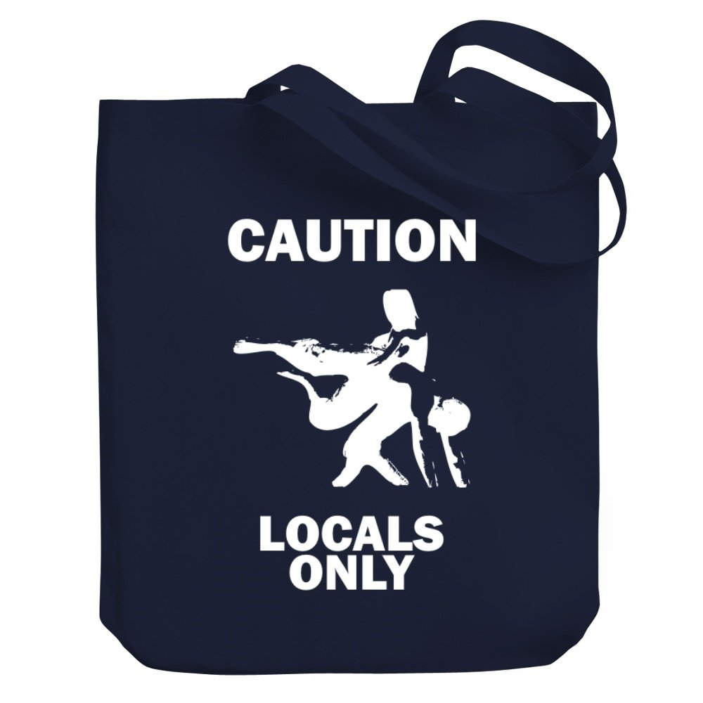 Teeburon CAUTION Wrestling LOCALS ONLY Canvas Tote Bag