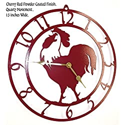 Rooster Wall Clock. Cherry Red with Brass Hands. Handmade in USA. 15 Inch Wide. Quartz Movement.