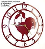 Rooster Wall Clock. Cherry Red with Brass Hands. Handmade in USA. 15 Inch Wide. Quartz Movement. For Sale