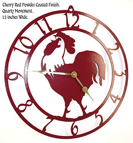 (Rooster Wall Clock. Cherry Red with Brass Hands. Handmade in USA. 15 Inch Wide. Quartz Movement.)