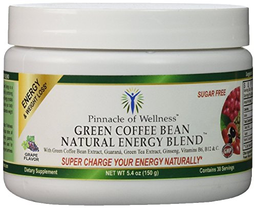 Crowning point of Wellness Natural Green Energy Powder – Grape Flavor – 30 Servings – 5.4oz (150g) – With Pure Green Coffee Bean Extract 800mg - Green Tea Leaf – Asian Ginseng Thrive & Guaraná Seed - Vitamin C - B6 & B12 - Sugar Free Drink Mix