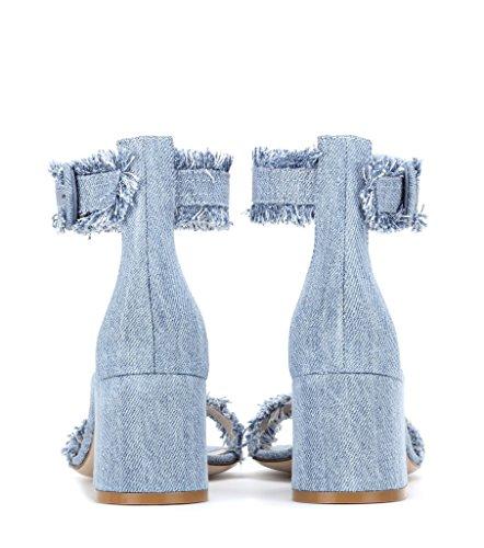 Tacco Caviglia Denim Da Sandali Con In Largo 5cm Estivi Aperti Medio Fibbia Donna Elashe Alla w5qFgTq