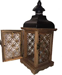 Best West Home Decor Floral Cutout Wood Lantern Candle Holder