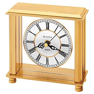 Bulova B1703 Cheryl Table Clock, Brass - Brushed and polished brass-tone metal case Quiet sweep (no ticking) second hand Protective lens - clocks, bedroom-decor, bedroom - 51rajeRab1L. SS400  -