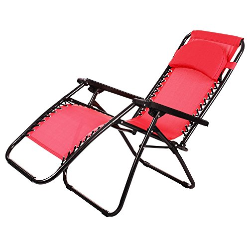 Elever Zero Gravity Chair Chaise Lounge with Collapsible Steel Construction Red by Elever