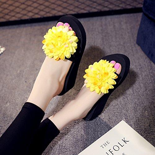 KHSKX-Tacones Altos Fondo Grueso Flip Flops Moda Skidproof Pendiente Tacones Flores Zapatillas De Playa yellow