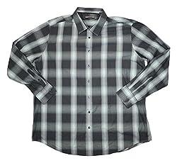 Alfani Big & Tall Button Down Long Sleeve Auburn Plaid Shirt (2XLT, Grays)