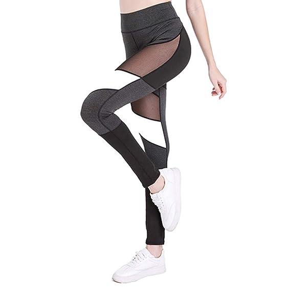 MEIbax Leggings Deportes Pantalones para mujeres de Sexy Hueco de Moda  Empalme ColorBlock Skinny Casual Pantalones Fitness Yoga de Cintura Alta  Running Gym ... 27120de32592