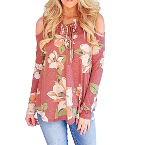 2017 Hot Sale! Womens Casual Long Sleeve Floral Print Off Shoulder Blouses Tops and Shirts (S, Orange) (Floral Wool Coat)
