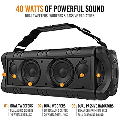 Alpatronix [AX500] 5400mAh 40W Portable Bluetooth 4.2 Wireless HD Stereo Speaker with Subwoofer Enhanced Bass, IPX5 Waterproof Rating, TWS, USB Drive, Equalizer & Strap for Indoor & Outdoor - Black