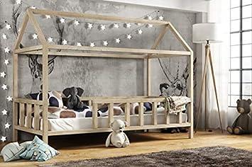 Hausbett 70x140 Cm Kinderhaus Kinderbett Mit Rausfallschutz