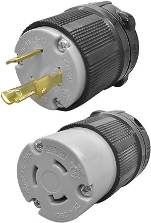 NEMA L6-20R 20 Amp 250 Volt Female Twist Lock 3 Wire Power Cord Plug UL