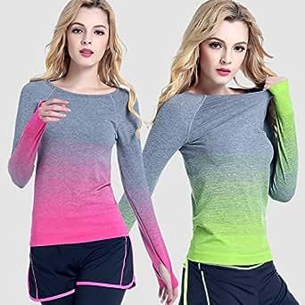 Women T-Shirt Long Sleeve Fitness sport outdoor jogging Gradient color Yoga Slim (SMALL, Green)