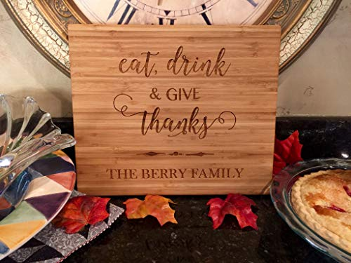 Personalized Cutting Board for Wedding Gifts - Wood Cutting Boards, Also Bridal Shower and Housewarming Gifts (11 x 13 Single Tone Bamboo Rectangular, Thanksgiving Give Thanks Design) (Thanks Give Blocks)