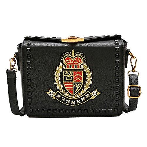 Femenino Cuerpo Escudo De La De Salvaje Pequeño Del Moda Partido Bolso Marea Bolso Bolso Black Cruzado Bordado Del Vintage t5xqqRwY