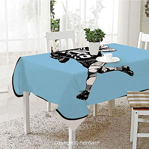 Party Decorations Tablecloth American Football League Game Rugby Player Run Original Retro Illustration Table Protectors for Family Dinners (W55 xL72) ()