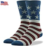 Mid Calf Crew Dress Socks, Ristake Men's Ultimate Fashionable Glory American Flag Pattern Cotton Soft Mid Calf Casual Crew Boot Socks Crazy Fun Dress Socks Valentines Day Gift Socks Men