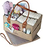 Crib with Built in Changing Table Bonne Vie Baby Diaper Caddy with Changing Pad | Nursery Table Storage Organizer | Large Portable Car Tote Bag for Wipes & Diapers | Boy Girl Baby Shower Gift Basket | Newborn Registry Must Haves