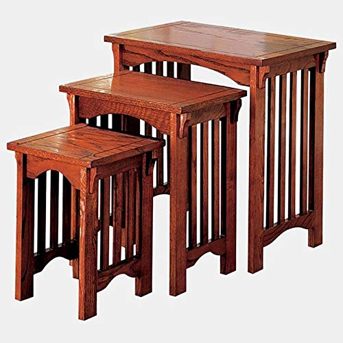 3 Piece Nesting End Table Set - Wood End Table - Brown