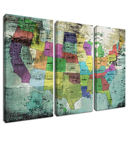 rt Prints US Map Vintage Abstract Pictures, 3 Panels United States Map Retro Artwork Gallery and Framed for Living Room Bedroom Dinning Room Home Office Decor, 16