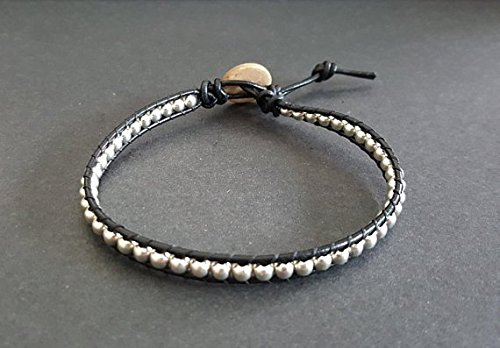 Brass Silver Tone Black Leather Anklet