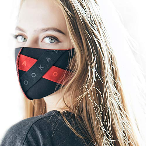 LOOKA MASK Protective Fashion Air Mask | Washable and Reusable | Triple Layered Premium Face Mask | X-Band Black X Red (Small) ()