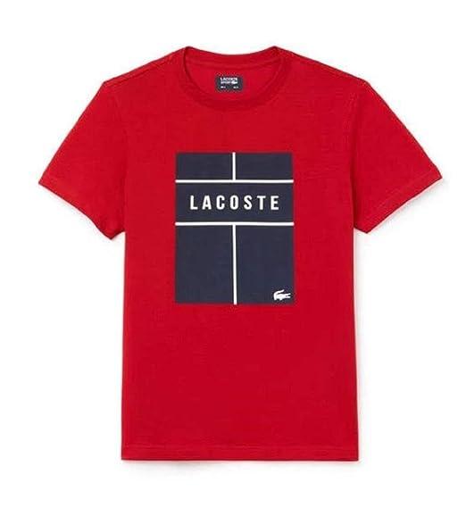 7f578b795 Lacoste Men s Sport Crew Neck Lettering Jersey Tennis T-Shirt Lighthouse  Red Navy Blue