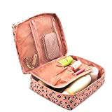 Ac.y.c Printed Multifunction Portable Travel Toiletry Bag Cosmetic Makeup Pouch Case Organizer for Travel (Pink Leopard Print)