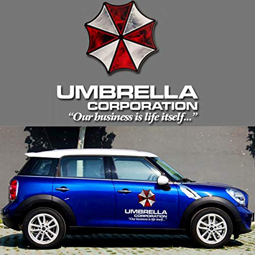 YSpring Resident Evil Car Front Cover Emblem Decals Umbrella Corporation Badge Auto Body Vinyl Stickers Vehicles (Style K - White Fonts)
