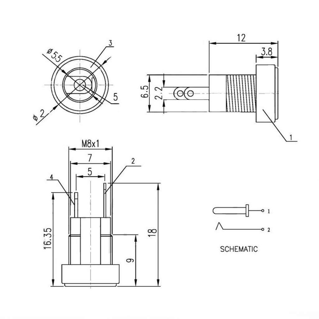 Schwarz JOYKK 5 St/ück DC-022B Netzteilbuchse Buchse Flanschdose f/ür Wandmontage 5,5 x 2,1 mm mit Kappe