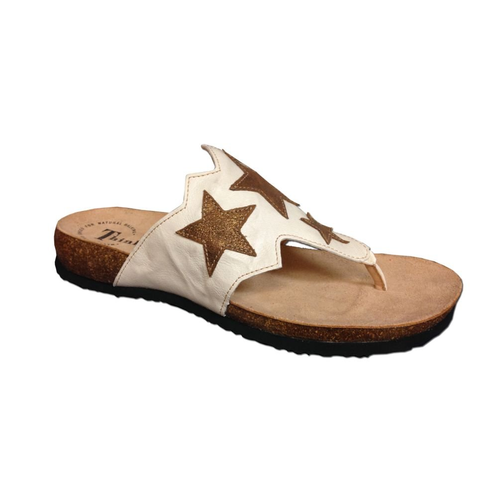 New Think Women's Julia Star Thong Sandals Shell 36