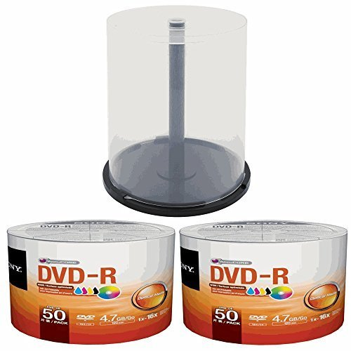 2 X Sony 50 Pack Ink-Jet Printable DVD-R (100 total DVD's) - Includes Storage Spindle
