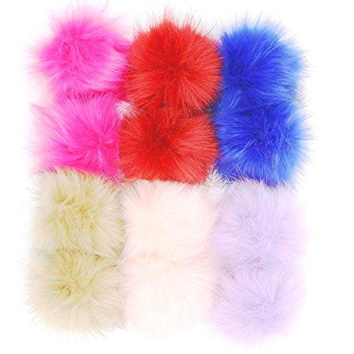 """Dr nezix DIY 12pcs Faux Fox Fur Fluffy Pompom Ball for Knitting Hats,Bags,Keychains,Shoes,10cm(4"""") Popular Mix Colors (color set 4) from Dr nezix"""
